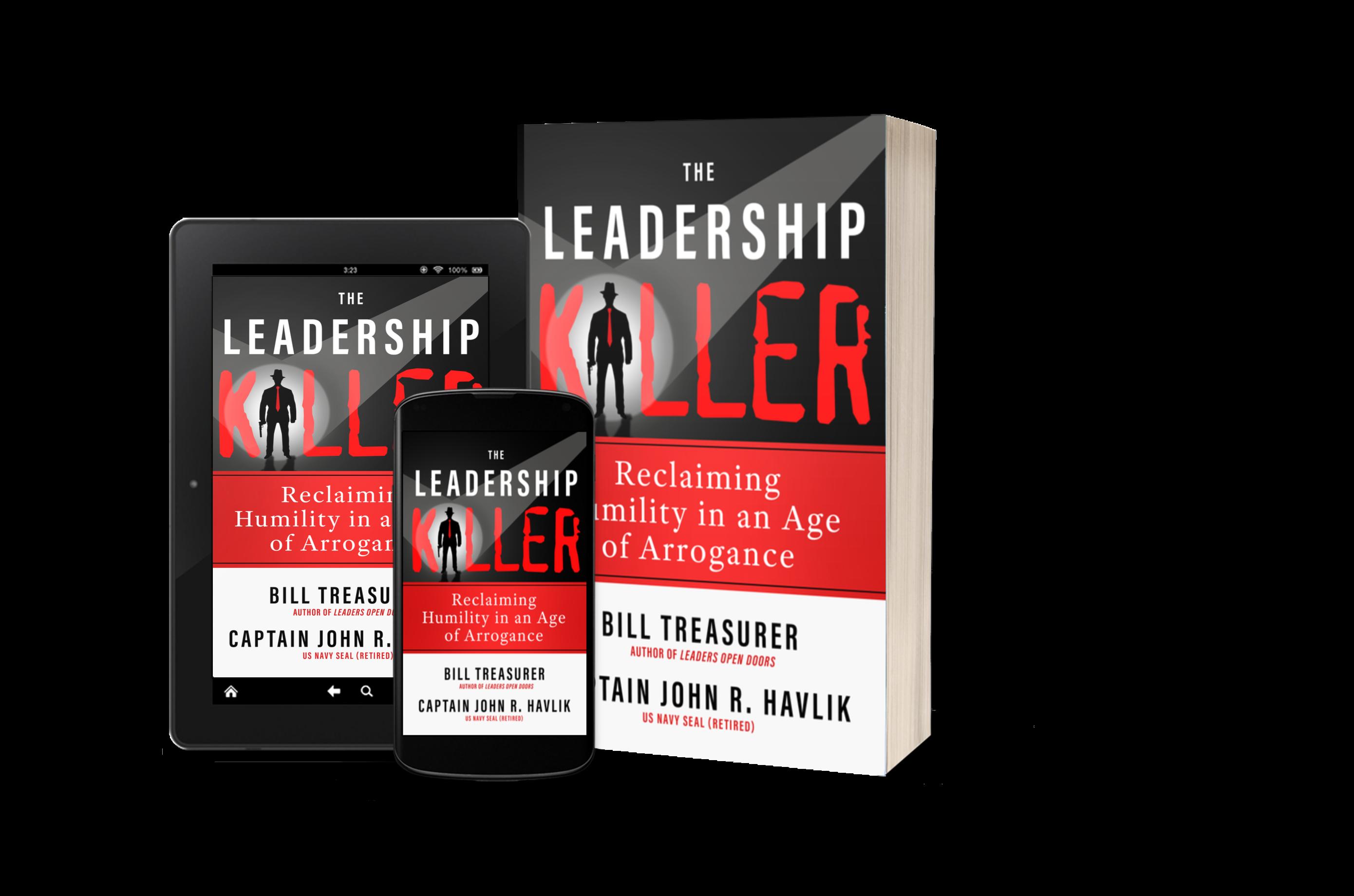 Various versions of The Leadership Killer book.