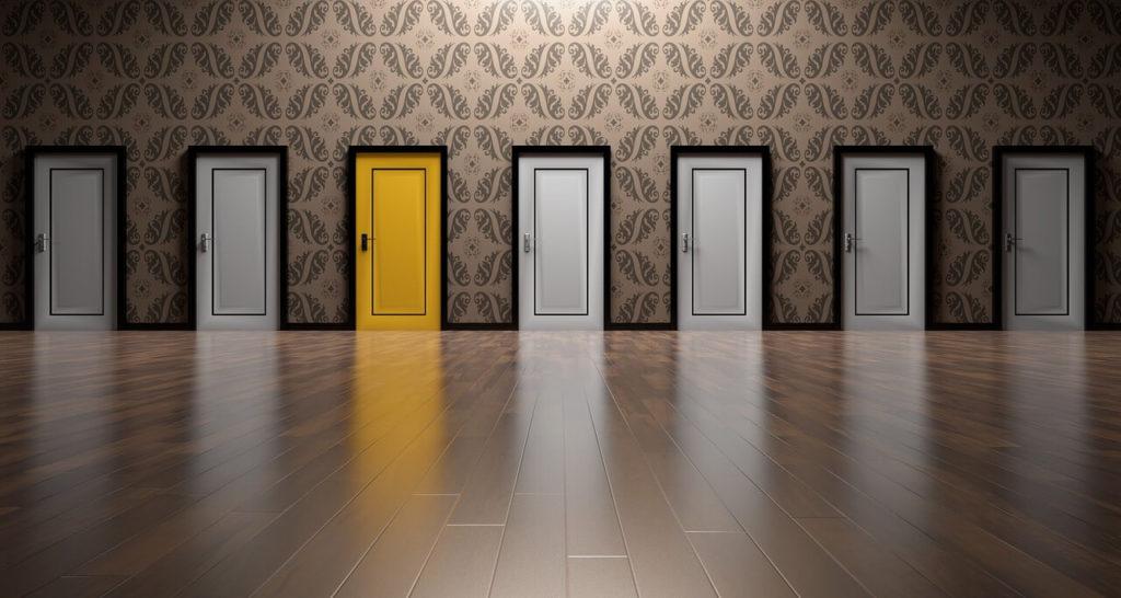 White doors and one yellow door